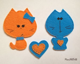 Cute cat magnets Original magnets Decorative magnets Felt fridge magnet Magnets handmade Valentines blocks Made for home decoration