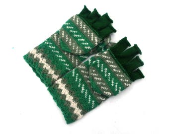 Knitted hooded gloves, hand knit convertible mittens, flip top wool gloves, half fingers gloves, knitting arm warmers, green winter gloves