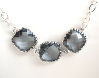 Gray Necklace, Grey Necklace, Silver Gray Pendant, Sterling Silver Necklace, Charcoal, Bridesmaid Necklace, Bridal Jewelry, Bridesmaid Gift