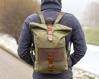 Canvas leather backpack, Canvas rucksack, Canvas rucksack backpack, Mens canvas backpack, Canvas laptop backpack, Canvas leather rucksack