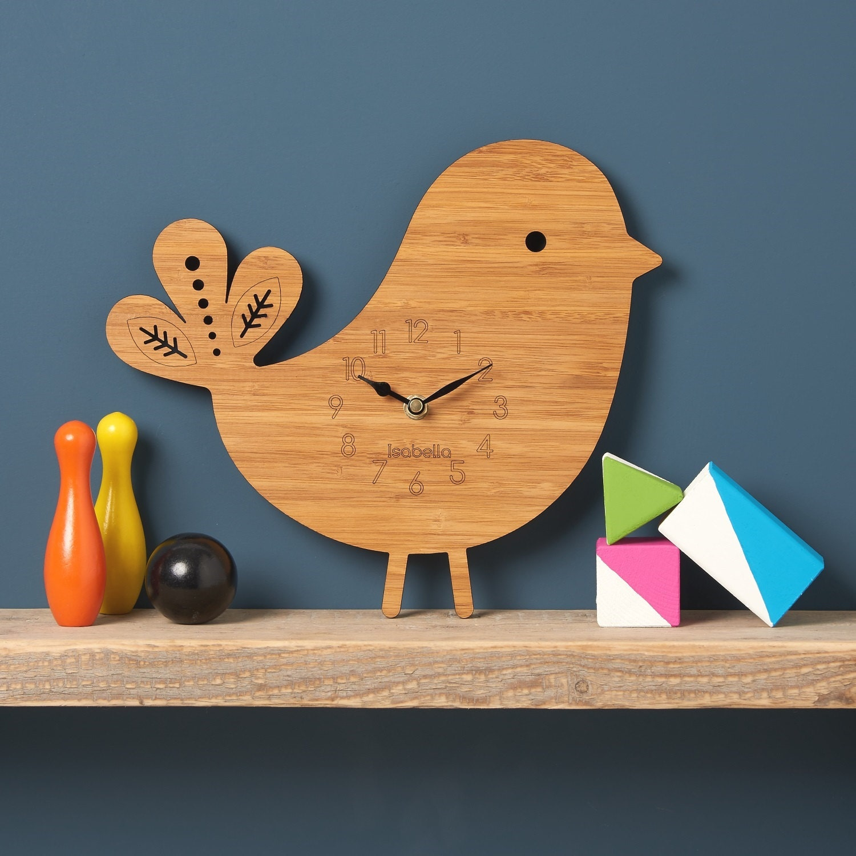 Bird Wall Clock Modern Clock Childrens Clock Laser Cut By