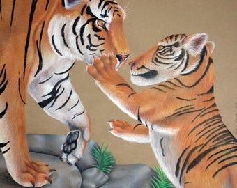 Bengal Tigers Original Drawing