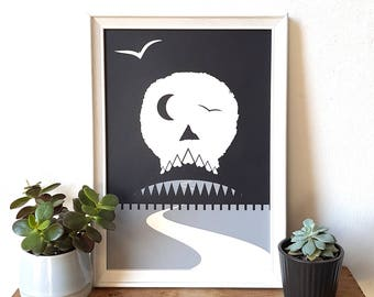 Skull Art Print Poster Halloween Adventure Screen Print  by OR8 DESIGN