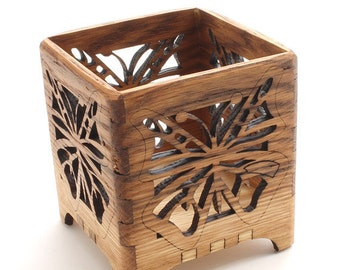 Butterfly Votive Candle Holder - Sustainable Harvest Wisconsin Red Oak Wood . Timber Green Woods