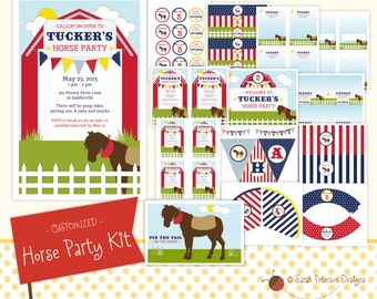 Custom Navy and Red Horse Birthday Party Printables Package
