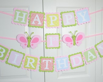 Butterfly Happy 1st Birthday Banner, Birthday Party, Butterfly Theme, Hot Pink, light Pink, Red, Light Blue and Green Theme H1B02