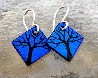Small Tree Dichroic Glass Earrings Handetched Blue