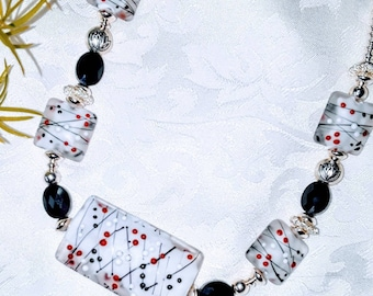 Casino Bead Necklace and Earrings
