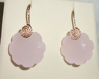 "Rose Quartz Earrings 34cts Natural Flower cut Rose Quartz gemstones, 14kt yellow gold Pierced Earrings 1 1/8"" long"