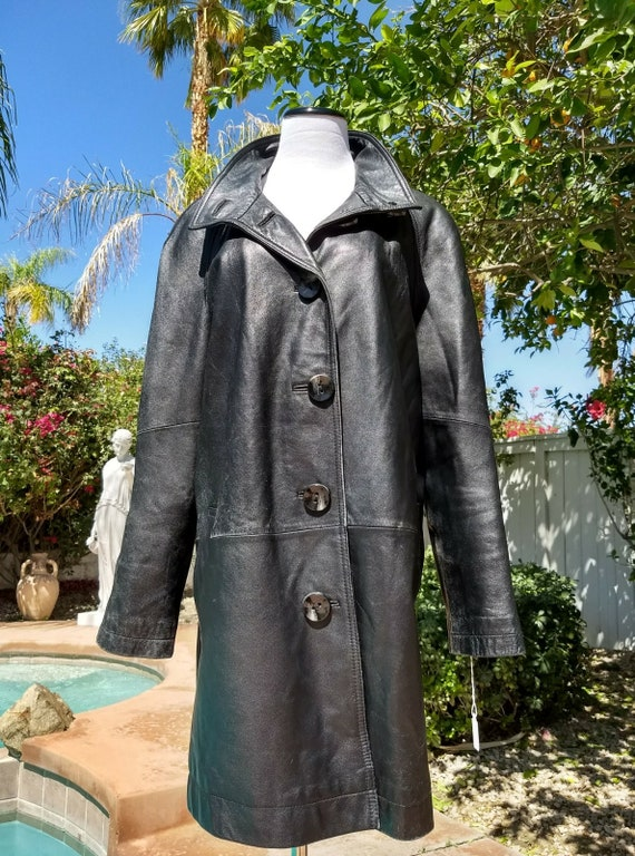 Genuine Lambskin Black Leather Coat, Size XL.