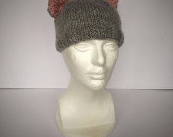 Hand Knit Childs Kitty Hat, Grey Hat, Animal Hat, Cat Hat, Hat with Ears, Kids Hand Knit Hat, Childs Cat Costume, Furry Hat, Kitty Cat Hat