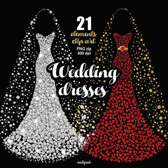 Wedding Dress Clipart. Bridal Gown Clipart. Prom dress clip