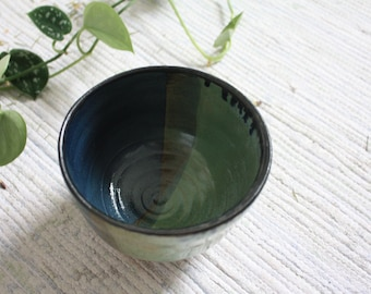 Handmade, two toned ceramic bowl, breakfast bowl, ceramic dish, handmade gift, housewarming gift, blue and green bowl