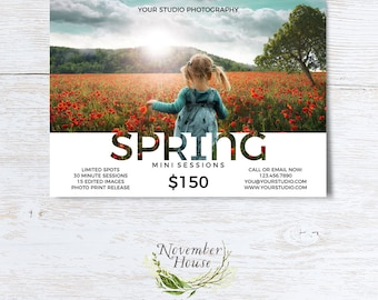Spring Mini Session, Photoshop Template, Photography Marketing Board, Mini Sessions, Marketing Template, Instant Download