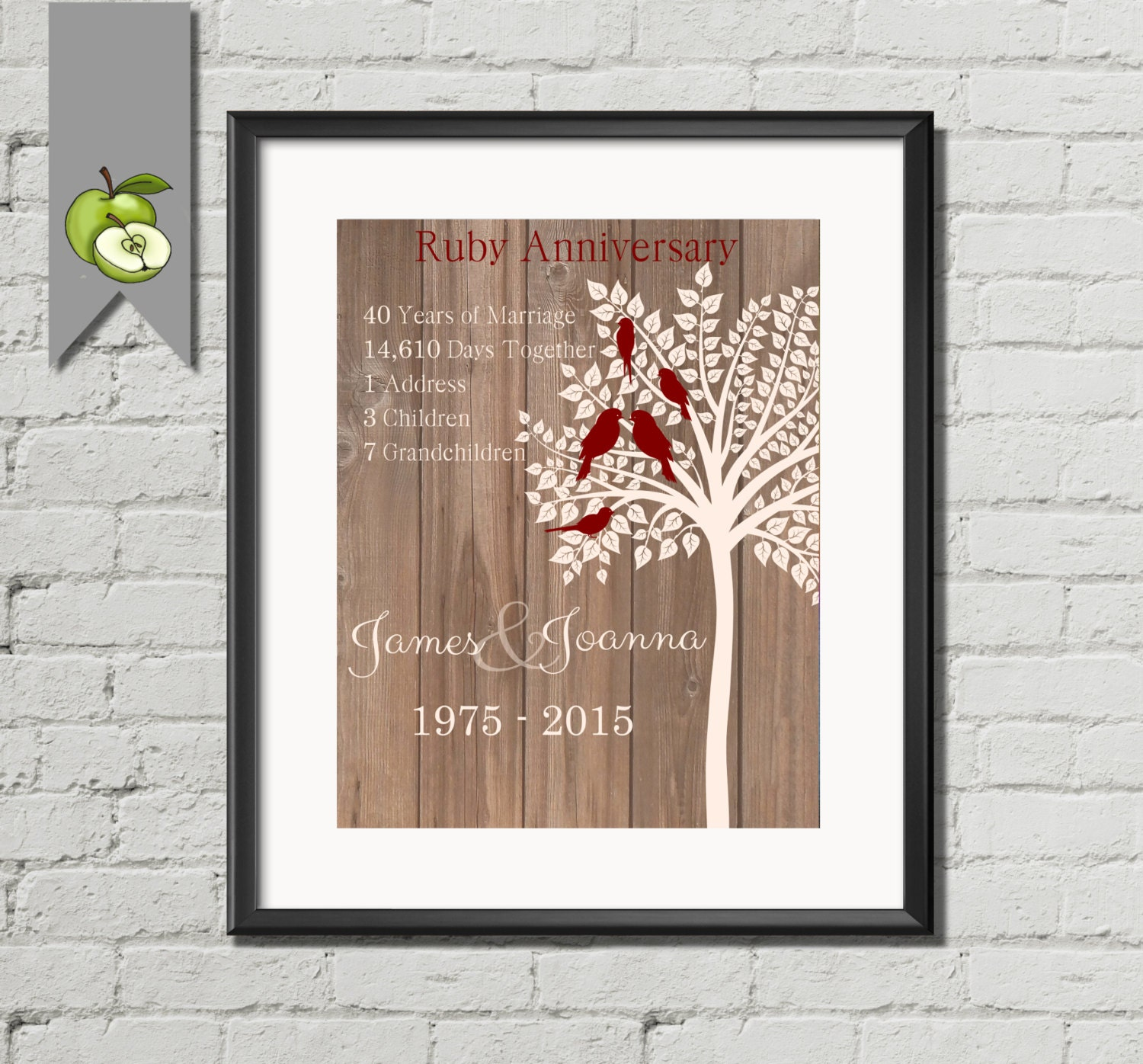 Ruby Wedding Anniversary Gift Personalised Family Tree