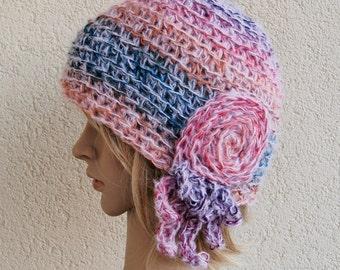 Silk,alpaca,merino wool, Crochet hat,  gift for Christmas