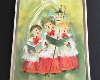 Vintage Christmas greeting card, choir boys, bright colors, Artist signed