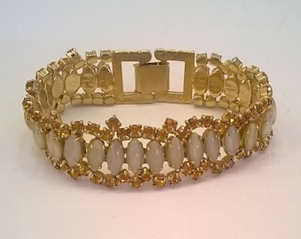 Vintage 1950s Amber Color Rhinestone and Pearl Gray Glass Cabochon Bracelet