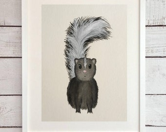 ORIGINAL Skunk Watercolor painting,nursery skunk, nursery art
