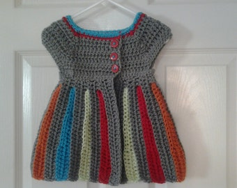 Crochet baby girl & toddler sleeveless sweater vest, gray and multicolor stripes, fall colors, baby cardigan, grey sweater vest winter, fall