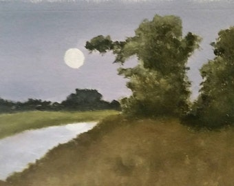 Moonlight Serenade  - Oil On Paper - Daily Painting