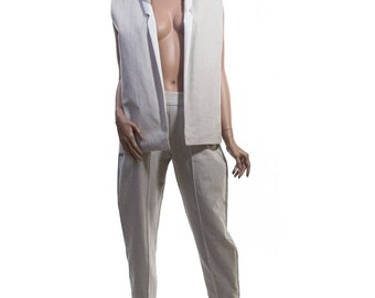 Linen Suit Vest with Silk Lining