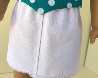 White Cotton Twill Fringed Skirt for American Girl Doll