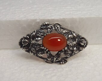 Art Deco Sterling Silver Wachenheimer Carnelian Repousse Roses Pin Brooch