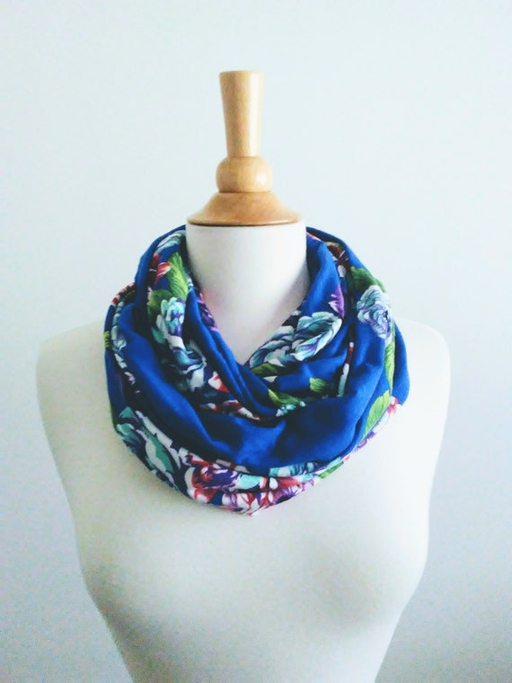 Floral infinity scarf royal blue botanical print scarf aqua flower circle scarf spring accessory gift for her aqua green scarf