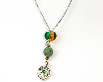 Essential Oil Necklace with Lava Stone Silver Plated Tree Charm