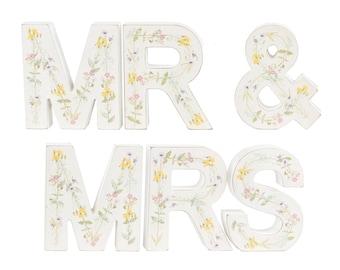 Wooden Vintage Floral Mr and Mrs Letters