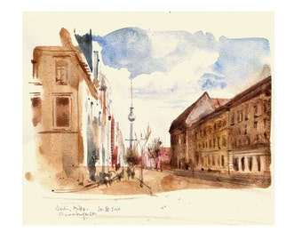 Berlin watercolor drawing - urban sketch - PRINT -  Watercolour sketch by Catalina.