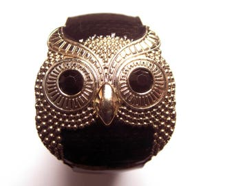 Owl Cuff Style Bracelet in Black and Silver
