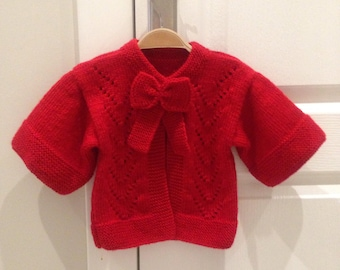 Baby Girl Clothes/Baby Cardigan/Hand Knitted Baby Cardigan