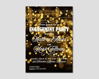 BLACK AND GOLD Engagement Party Invitation   Popular Bokeh Invite