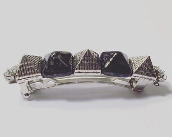 Silver Metal and Dark Gray Pyramid Swarovski Crystal French Barrette, for weddings, parties, special occasions