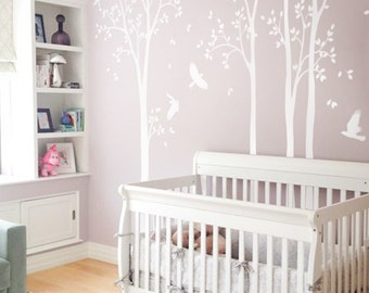 Wall decals murals etsy unisex multicolored white large set of nursery tree decals with birds white tree decals wall tattoos gumiabroncs Choice Image