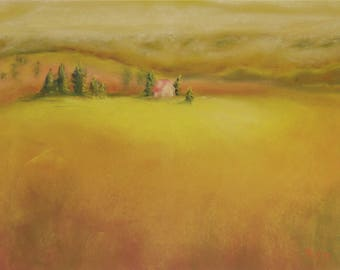 Save Our Prairies!  Prairie Habitat Pastel Painting. Prairie in the Fog. Original Pastel Painting.  Gold Pastel Painting.  Prairie Painting.