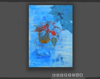 Still life Painting / Blue Acrylic / Acrylic original / Still life acrylic / acrylic painting / abstract acrylic painting / flower painting
