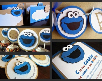 Cookie Monster Birthday Party Package, Cookie Monster 1st Birthday, Cookie Monster Party, Sesame Street Party, Cookie Monster Party Decor