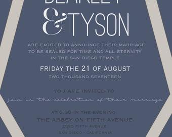 Navy Blue Geometric Lines Wedding Invitation Digital File