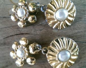 Vintage Chanel gold plate flower and starburst  earrings