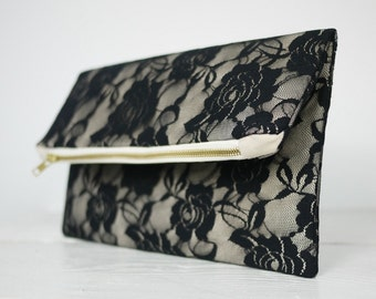 Black lace purse, fold over black lace clutch | Mother of the Bride Gift | Mother of the Groom Gift