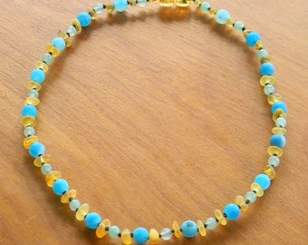 Blue Lace Agate and Baltic Amber Necklace/ Custom Amber Necklace/ Authentic Handmade Amber Necklace