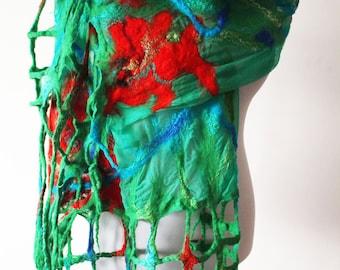 Shawl & wrap silk shawl Nuno felt shawl Poppy shawl Gipsy floral silk shawl