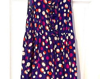 Moulinnette Soeurs Silk Dress Sz. 8 Royal Blue Bright Multi Colored Polka Dot Print Above Knee Dress Sleeveless Dress Summer Silk Dress VTG