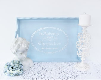 Wood Serving Tray, Light Blue Stenciled Tray, French Themed Serving Tray