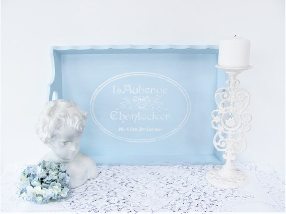 wood serving tray light blue stenciled tray themed