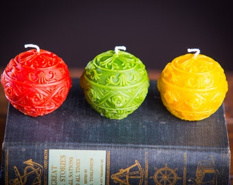 Ornament #1  -Set of 3 Beeswax Candles
