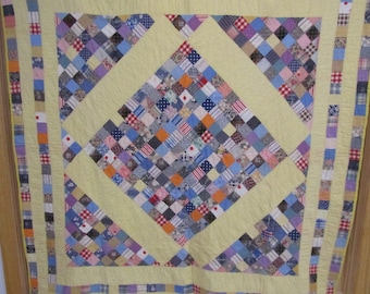 Price Reduced! Bright, Vintage Boston Commons Quilt.  Hand Quilted.  Berks County.